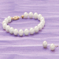 "Akoya - Grade AAA Cultured 7-7.5mm Pearl 8"" Bracelet-Bracelets-Here Comes The Bling™"
