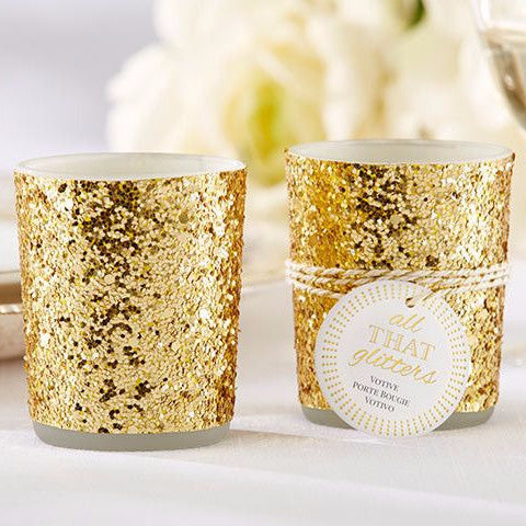 """All That Glitters"" Gold Glitter Candle Holder (Set of 4)-Favors-Candle Holders-Here Comes The Bling™"