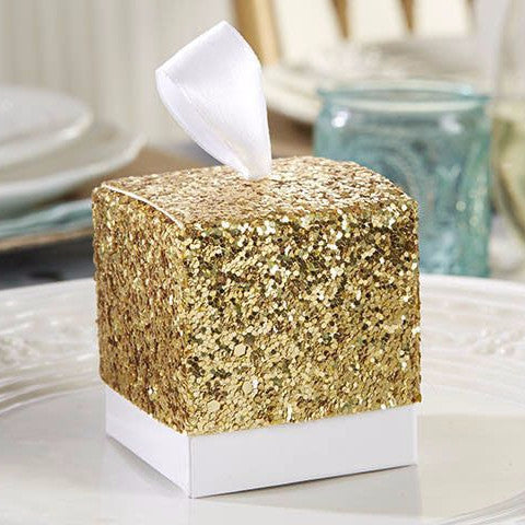 """All That Glitters"" Gold Glitter Favor Box (Set of 24)-Favors-Boxes-Here Comes The Bling™"