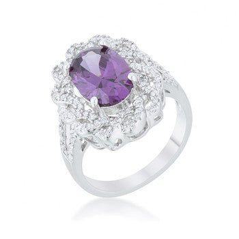 Amethyst Oval Classic Ring-Rings-Here Comes The Bling