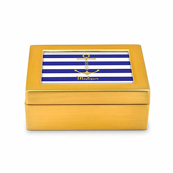 """Anchored"" Modern Striped Personalized Jewelry Box (Available in 3 Colors)-Jewelry Box-Here Comes The Bling™"