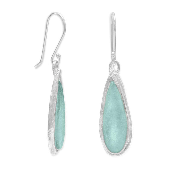 Ancient Roman Glass Pear Drop Earrings-Earrings-Here Comes The Bling™