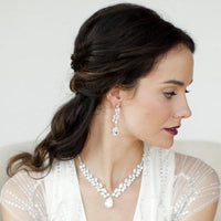 Angeline Cubic Zirconia Bridal or Cocktail Necklace-Necklaces-Here Comes The Bling™