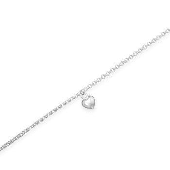 Anklet with Puffed Heart Charm-Anklets-Here Comes The Bling™