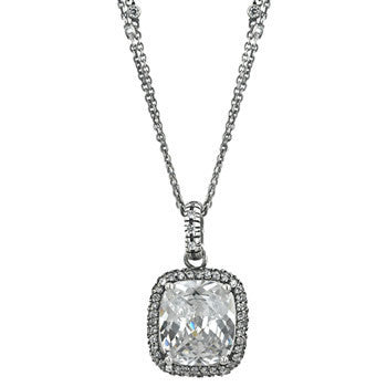 Antique Silver Cubic Zirconia Pendant-Necklaces-Here Comes The Bling