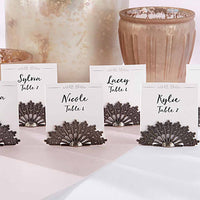 Antiqued Fan Place Card Holder (Set of 12)-Place Card Holder-Here Comes The Bling™