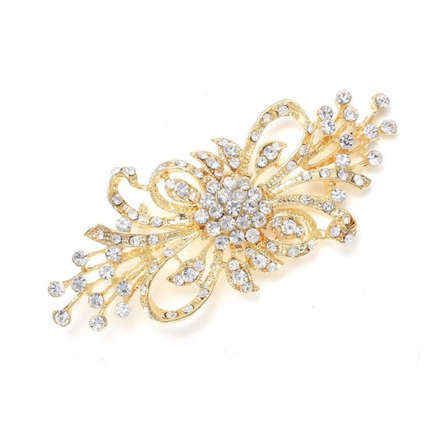 Art Deco Spray Crystal Brooch-Brooches-Here Comes The Bling™
