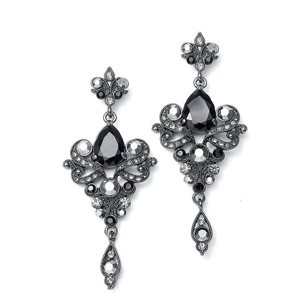 Art Nouveau Cubic Zirconia Earrings in Black-Earrings-Here Comes The Bling™