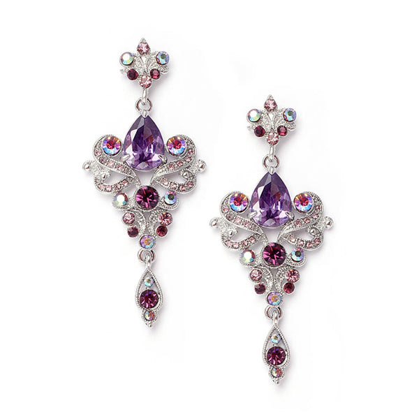 Art Nouveau Cubic Zirconia Earrings in Purple-Earrings-Here Comes The Bling™