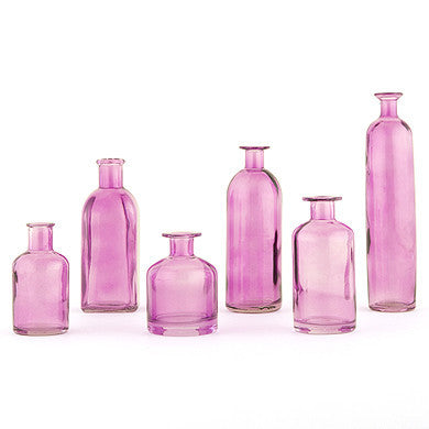Assorted Decorating Glass Bottle in Purple (Set of 6)-Decor-Bottles-Here Comes The Bling™