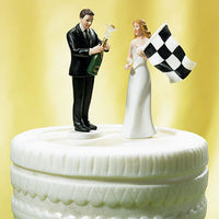 """At The Finish Line"" Checkered Flag & Champagne Cake Topper ( Select From 7 Hair Colors )-Cake Toppers-Here Comes The Bling™"