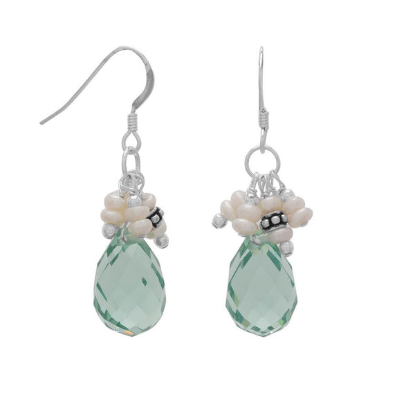 Austin Handmade Light Blue Crystal and Pearl Earrings-Earrings-Here Comes The Bling™
