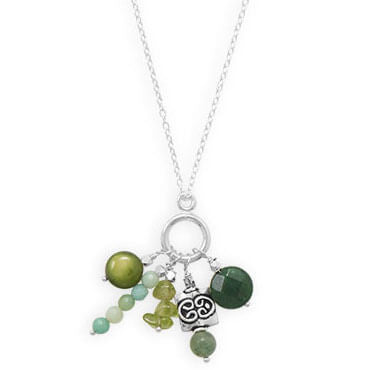 Austin Handmade Shades of Green Necklace-Necklaces-Here Comes The Bling™