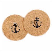 Personalized Round Cork Coasters - Nautical (Set of 36)