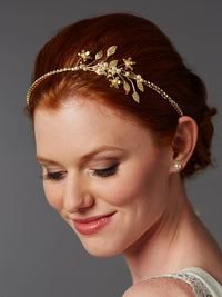 Baby Pearl Floral Sprigs Hand-Crafted Designer Gold Headband-Headband-Here Comes The Bling™