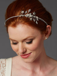Baby Pearl Floral Sprigs Hand-Made Designer Silver Headband-Headband-Here Comes The Bling™
