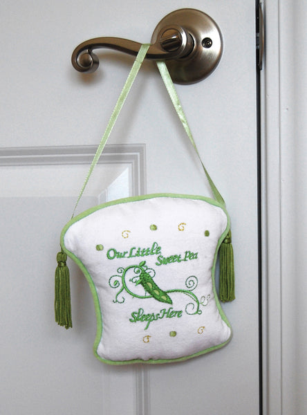 "Baby's Room ""Our Little Sweet Pea Sleeps Here"" Pillow Door Hanger-Baby Gifts-Here Comes The Bling™"