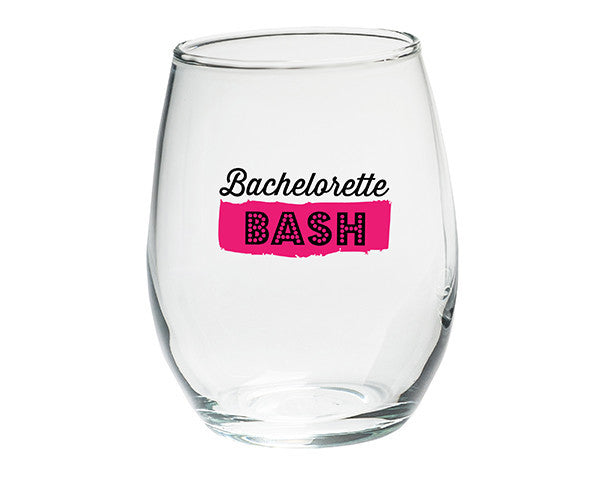 Bachelorette Bash 15 oz. Stemless Wine Glasses - (Set of 4)-Stemless Glassware-Here Comes The Bling™