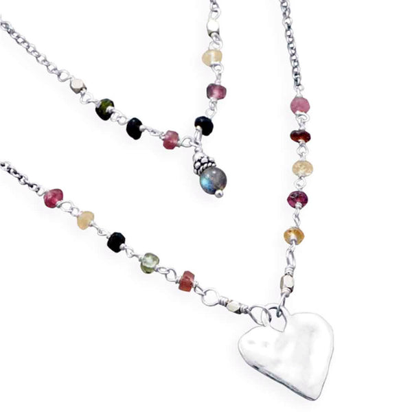 "Baila Luna ""Joyful"" Heart Necklace-Necklaces-Here Comes The Bling™"