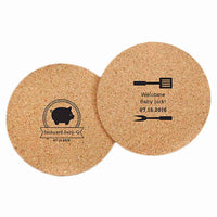 """BBQ"" Personalized Round Cork Coasters -(Set of 36)-Favors-Coasters-Here Comes The Bling™"