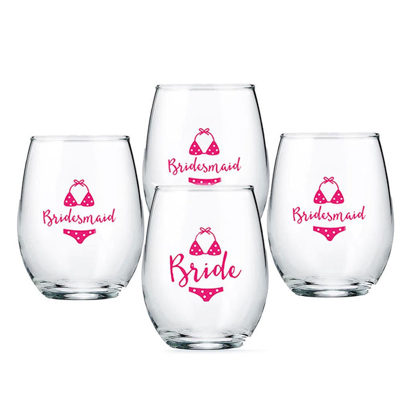 """Beach Bikini"" Bride and Bridesmaids 15 oz. Stemless Wine Glass (Set of 4)-Stemless Glassware-Here Comes The Bling™"