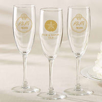 """Beach Tides"" Personalized Champagne Flutes (Set of 36)-Toasting Flutes-Here Comes The Bling™"