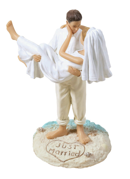 Beach Wedding Figurine-Cauc-Cake Toppers-Here Comes The Bling™