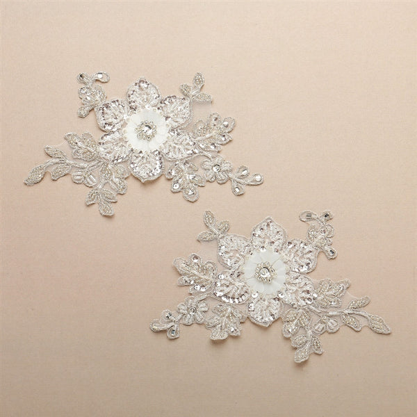 Beaded Lace Wedding Gown Appliques with Sequin Paillette Petals-Applique-Here Comes The Bling™