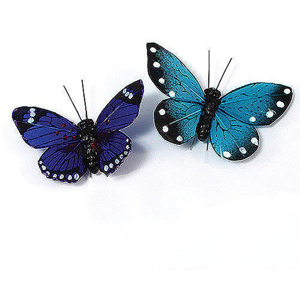 Beautiful Decorative Butterflies in Blues (Assorted Set of 25)-Decor-Accents-Here Comes The Bling™