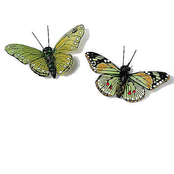 Beautiful Decorative Butterflies in Greens (Assorted Set of 25)-Decor-Accents-Here Comes The Bling™