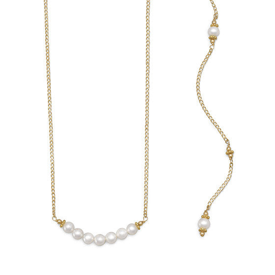 Beautiful Gold Filled Cultured Freshwater Pearl Back Drop Necklace-Back Necklace-Here Comes The Bling™
