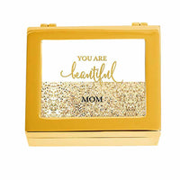 """Beautiful"" Gold Glitter Personalized Jewelry Box (Available in 3 Colors)-Jewelry Box-Here Comes The Bling™"
