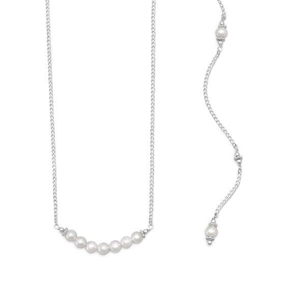 Beautiful Silver Cultured Freshwater Pearl Back Drop Necklace-Back Necklace-Here Comes The Bling™