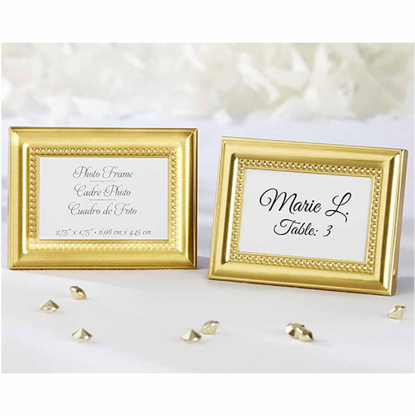 Beautifully Beaded Gold Photo Frame Place Holder (set of 12)-Place Card Holder-Here Comes The Bling™