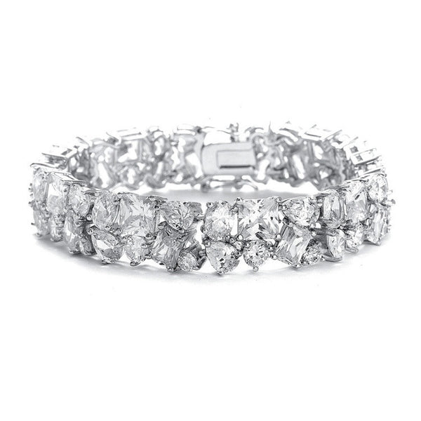 Bedazzling Wedding Bracelet in Multi Shaped CZ-Bracelets-Here Comes The Bling™