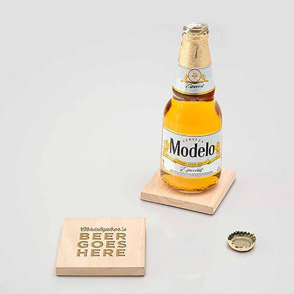 """Beer Goes Here"" Natural Wood Coaster With Built-in Bottle Opener (Set of 4)-Coasters-Here Comes The Bling™"