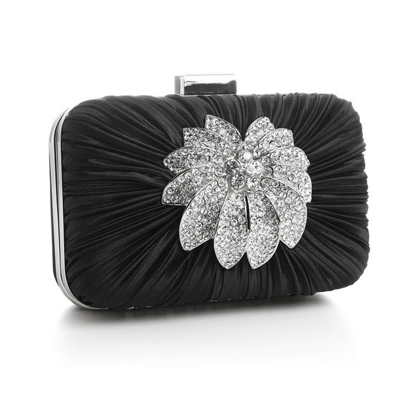 Bejeweled Satin Cocktail Minaudiere inBlack-Clutch-Here Comes The Bling™