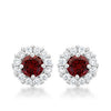 Bella Bridal Earrings in Garnet Red-Earrings-Here Comes The Bling
