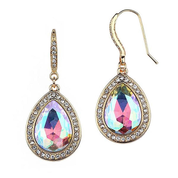 Beloved Pave' Accented Teardrop Earrings in Aurora Borealis-Earrings-Here Comes The Bling™