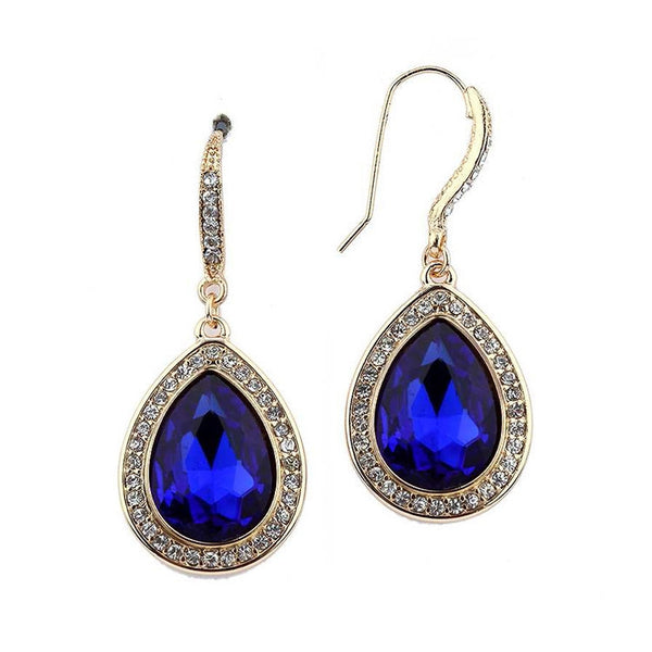 Beloved Pave' Accented Teardrop Earrings in Blue Sapphire-Earrings-Here Comes The Bling™