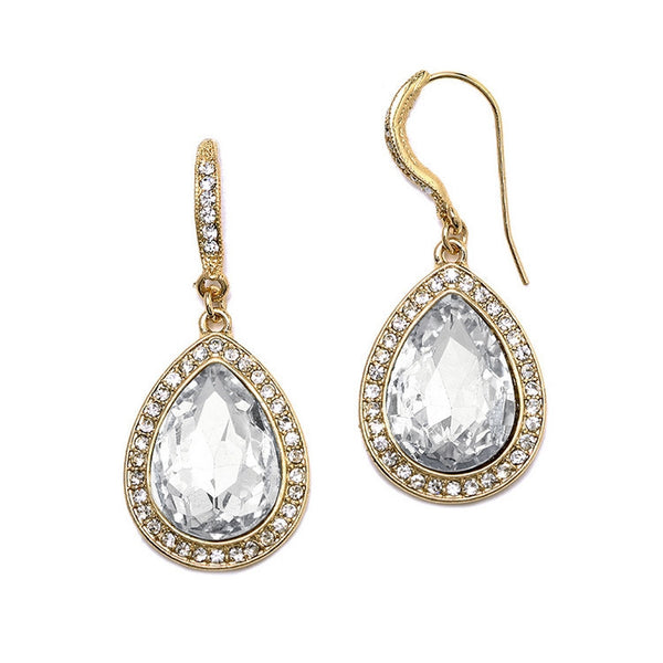 Beloved Pave' Accented Teardrop Earrings in Gold-Earrings-Here Comes The Bling™