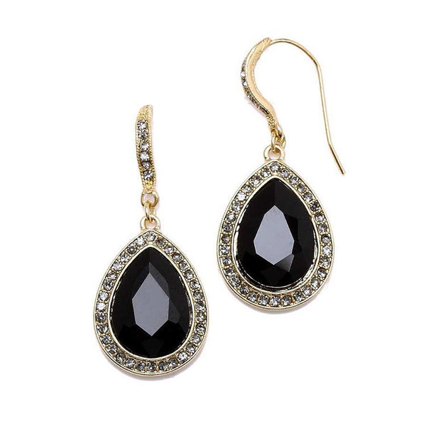 Beloved Pave' Accented Teardrop Earrings in Jet Black-Earrings-Here Comes The Bling™