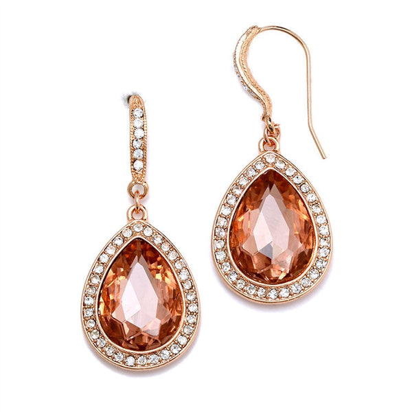 Beloved Pave' Accented Teardrop Earrings in Rose Gold-Earrings-Here Comes The Bling™