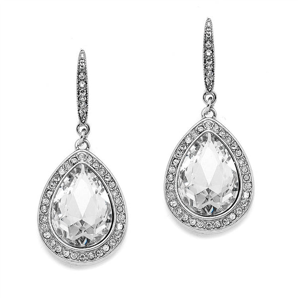 Beloved Pave' Accented Teardrop Earrings in Silver-Earrings-Here Comes The Bling™