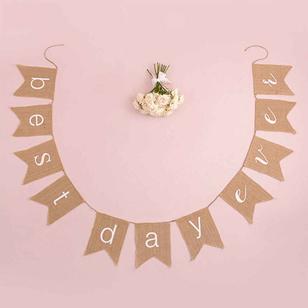 """best day ever"" Natural Burlap Banner-Decor-Hanging-Here Comes The Bling™"