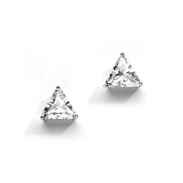 Best-Selling Cubic Zirconia Trillion Solitaire Stud Earrings-Earrings-Here Comes The Bling™