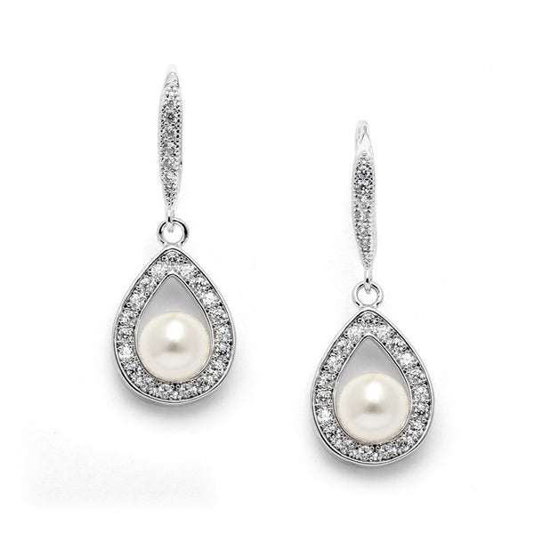 Best-Selling Pave CZ Wedding Earrings with 5mm Pearls-Earrings-Here Comes The Bling™