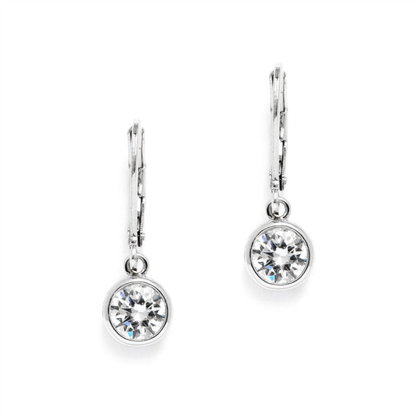 Bezel Set 1.0 Carat CZ Drop Bridal Earrings-Earrings-Here Comes The Bling™