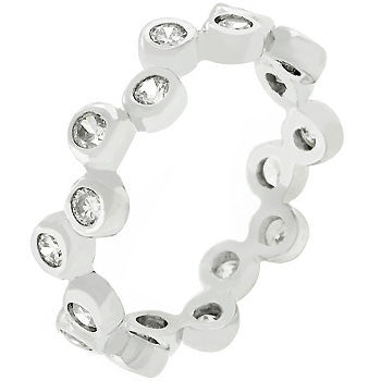 Bezel Set Clear CZ Eternity Band-Rings-Here Comes The Bling™