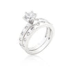 Bezel Set Round Cut Bridal Ring Set-Rings-Here Comes The Bling™